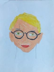 Autoportrait de Irène, 7 ans - Pastel gras