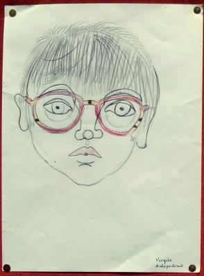 Autoportrait de Virgile, 8 ans - Crayon