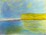 Mayeul, 7 ans - Falaises d'Etretat - Pastel sec d'après Claude Monet.