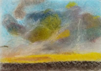 Benoît, 9 ans - Falaises d'Etretat - Pastel sec d'après Claude Monet.