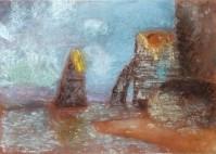 Pauline, 9 ans - Falaises d'Etretat - Pastel sec d'après Claude Monet.