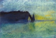 Côme, 8 ans - Falaises d'Etretat - Pastel sec d'après Claude Monet.