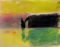 Jules, 7 ans - Falaises d'Etretat - Pastel sec d'après Claude Monet.