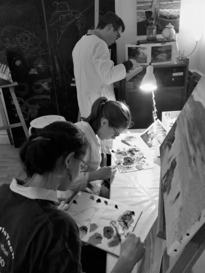Stage du soir - Janvier 2017 / La peinture à l'huile / Préparation des palettes
