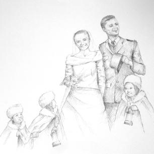 Mariage A et T - Crayon sur papier A4