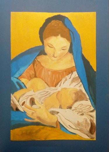 Icône à la gouache et à la peinture dorée - Maylis 12 ans